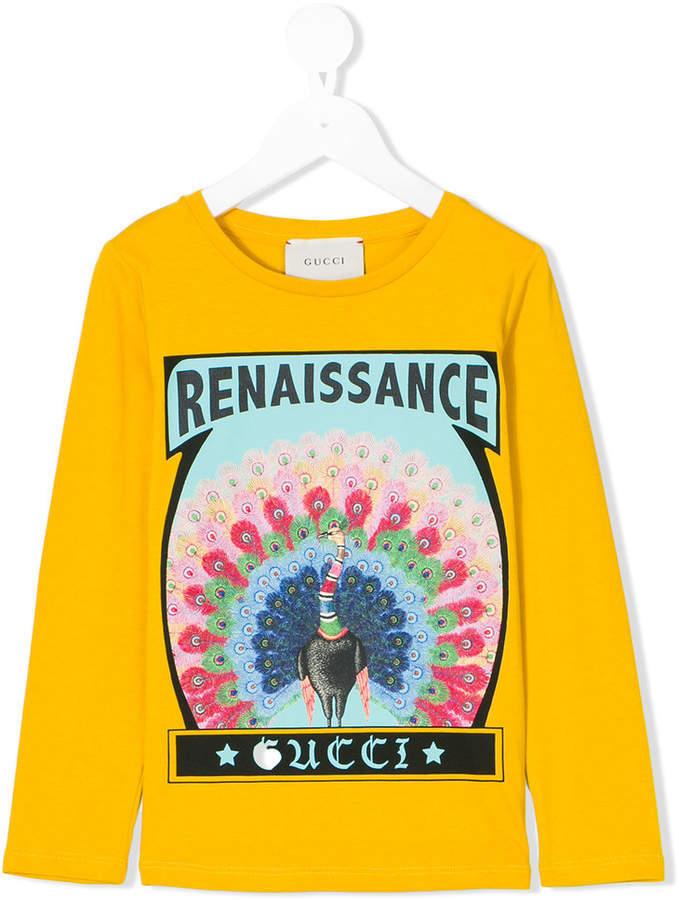 Gucci Kids Peacock Print Long Sleeved T Shirt