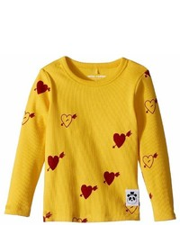 Mini Rodini Heart Rib Long Sleeve T Shirt Girls T Shirt