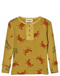 Bobo Choses Yellow Crab Your Hands Buttons Long Sleeve T Shirt