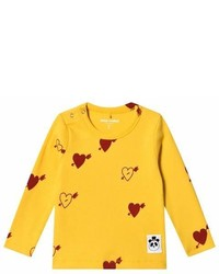 Mini Rodini Yellow Heart Rib Long Sleeved Tee