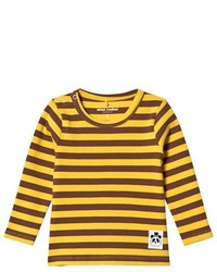 Mini Rodini Yellow Stripe Long Sleeved Rib Tee