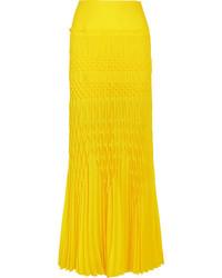 Haider Ackermann Smocked Crepe Maxi Skirt Bright Yellow