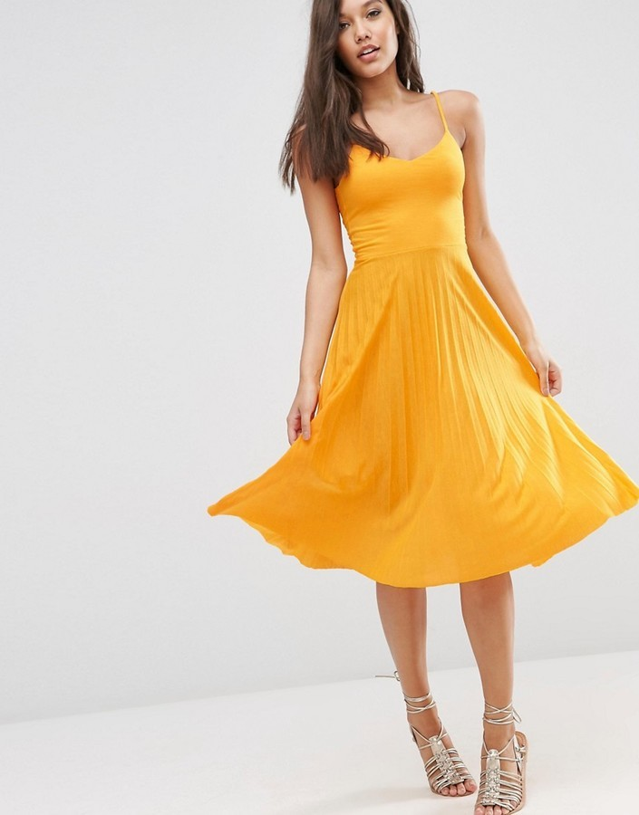 factory outlet huge discount 100% genuine $46, Asos Cami Midi Dress With Pleated Skirt
