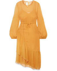 See by Chloe Med Tiered Crinkled Crepon Midi Dress