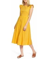 Ruffle fit flare midi dress medium 6989298