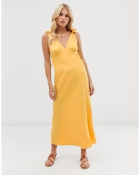 Vero Moda Tie Shoulder V Neck Midi Dress In Yellow
