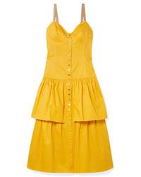 See by Chloe Tiered Cotton Poplin Midi Dress