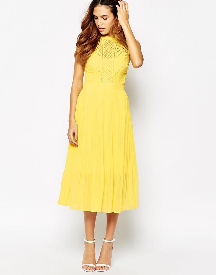 Galerry warehouse lace dress yellow