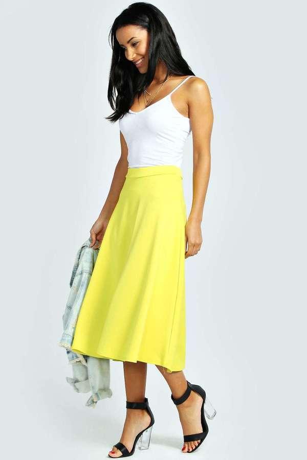 3a5066c35 Boohoo Arianna Plain Full Circle Midi Skirt, $20 | BooHoo ...