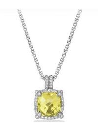 David Yurman 9mm Chtelaine Bezel Necklace With Diamonds