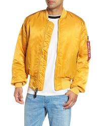 Yellow Nylon Bomber Jacket
