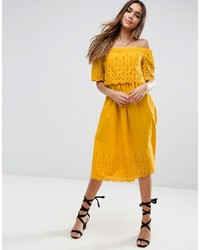 Asos Broderie Off Shoulder Midi Sundress