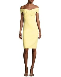 Theia Off The Shoulder Sweetheart Cocktail Dress Yellow