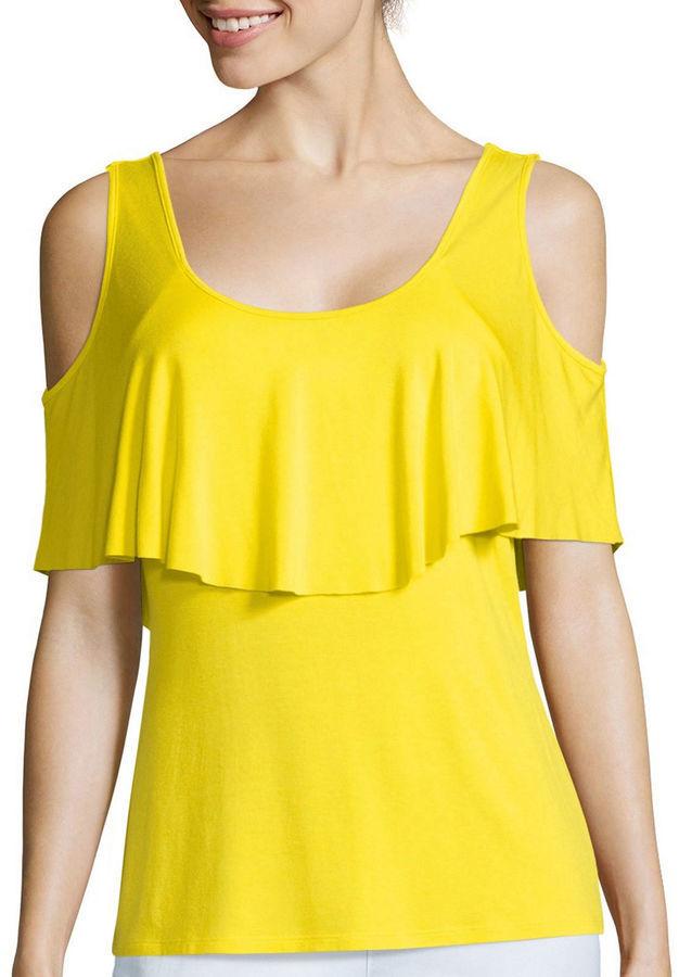 4cefeb149e61b Cold Shoulder Top. Yellow Off Shoulder Top by Bisou Bisou