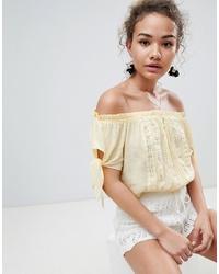 En Creme Short Sleeve Off Shoulder Crop Top