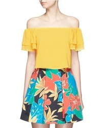 Alice + Olivia Whit Ruffle Off Shoulder Silk Cropped Top