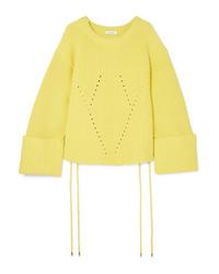 Mugler Oversized Lace Up Ribbed Cotton Blend Sweater