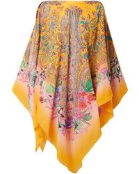 Etro Flo Printed Silk Poncho