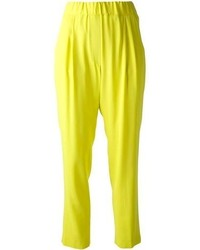 0e6110967b1 Master the effortlessly chic look in a black long sleeve t-shirt and yellow  pajama pants. Sporting a pair of Nancy Leopard Print Tassel Loafers is a  simple ...