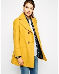 Asos Pea Coat With Vintage Detail In Swing
