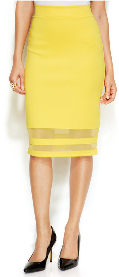 9869cd93e Thalia Sodi Mesh Stripe Scuba Pencil Skirt, $49 | Macy's | Lookastic.com