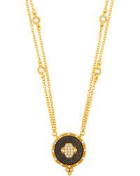 Freida Rothman Double Strand Pave Clover Pendant Necklace