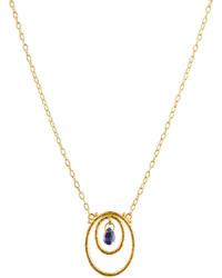 Gurhan Glow 24k Iolite Double Oval Pendant Necklace