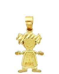 Goldenmine 14k Yellow Gold Girl Charm Pendant