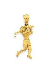 iBraggiotti Female Golfer Pendant In 14k Yellow Gold