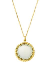 Roberto Coin Ipanema 18k Small Round Lemon Quartz Pendant Necklace