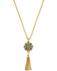 Jose & Maria Barrera Long Golden Tassel Flower Pendant Necklace