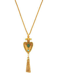 Jose & Maria Barrera Medallion Tassel Drop Pendant Necklace