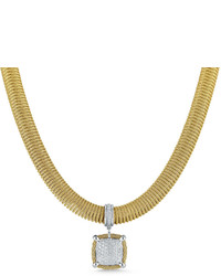 Alor Spring Coil Cable Pave Diamond Pendant Necklace Yellow 067 Tdcw