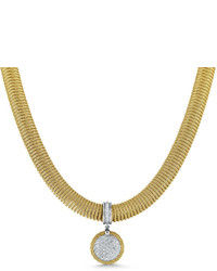 Alor Spring Coil Cable Round Diamond Pendant Necklace Yellow 051 Tdcw