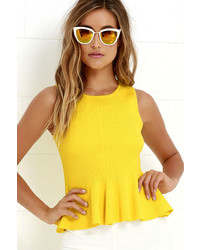 Endless rose watts up yellow peplum top medium 670433