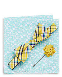 Original Penguin Alemeda Plaid Bow Tie Flower Lapel Pin Floral Print Pocket Square Gift Set