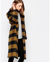 Mustard shadow check coat with oversized collar medium 1213454