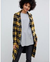 New Look Tailored Coat In Mustard Tartan Pattern