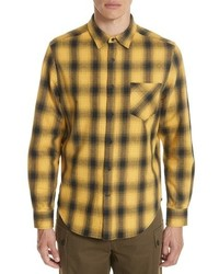 Yellow Plaid Flannel Long Sleeve Shirt