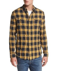 Vince Frayed Edge Plaid Western Shirt Blueyellow