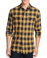 Western plaid frayed edge slim fit button down shirt medium 897082