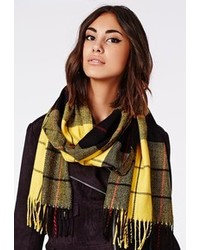 Missguided Aris Check Fringed Scarf Yellow
