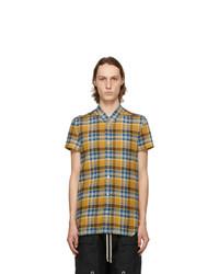 Rick Owens Yellow And Blue Plaid Golf Short Sleeve Shirt