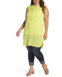Plus size sheer plaid henley tunic medium 4354981