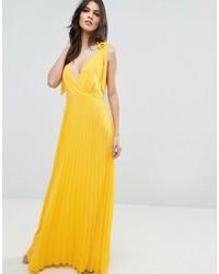Cami strap tie pleated maxi dress medium 3757912