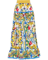 Dolce & Gabbana Pleated Printed Cotton Poplin Maxi Skirt Yellow