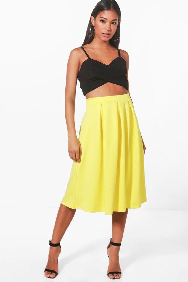 9791c214e7 ... Yellow Pleated Midi Skirts Boohoo Beau Box Pleat Midi Skater Skirt ...