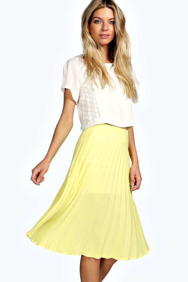 Boohoo Holly All Over Pleated Crepe Midi Skirt | Where to buy ...