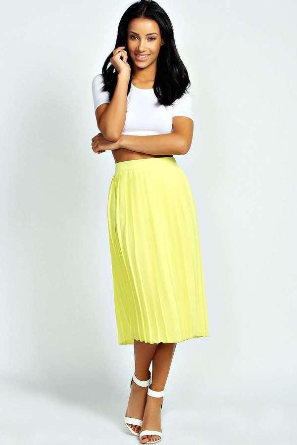 24e1c37381 ... Yellow Pleated Midi Skirts Boohoo Casey Pleated Woven Midi Skirt ...