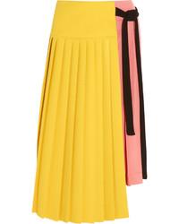 Pleated crepe and satin wrap skirt yellow medium 372152